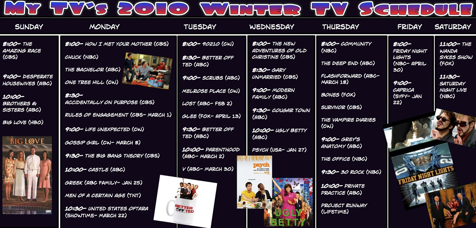 2010 spring tv schedule » my tv | my entertainment world