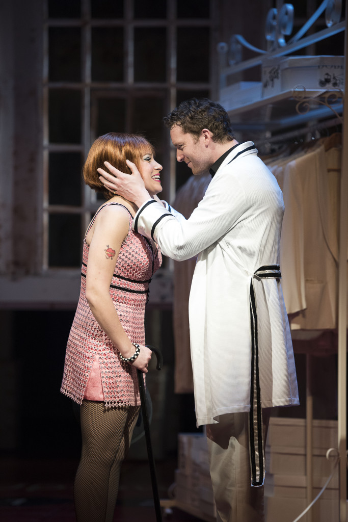 Julie Martell as Charity Valentine and Mark Uhre as Vittorio Vidal in Sweet Charity.
