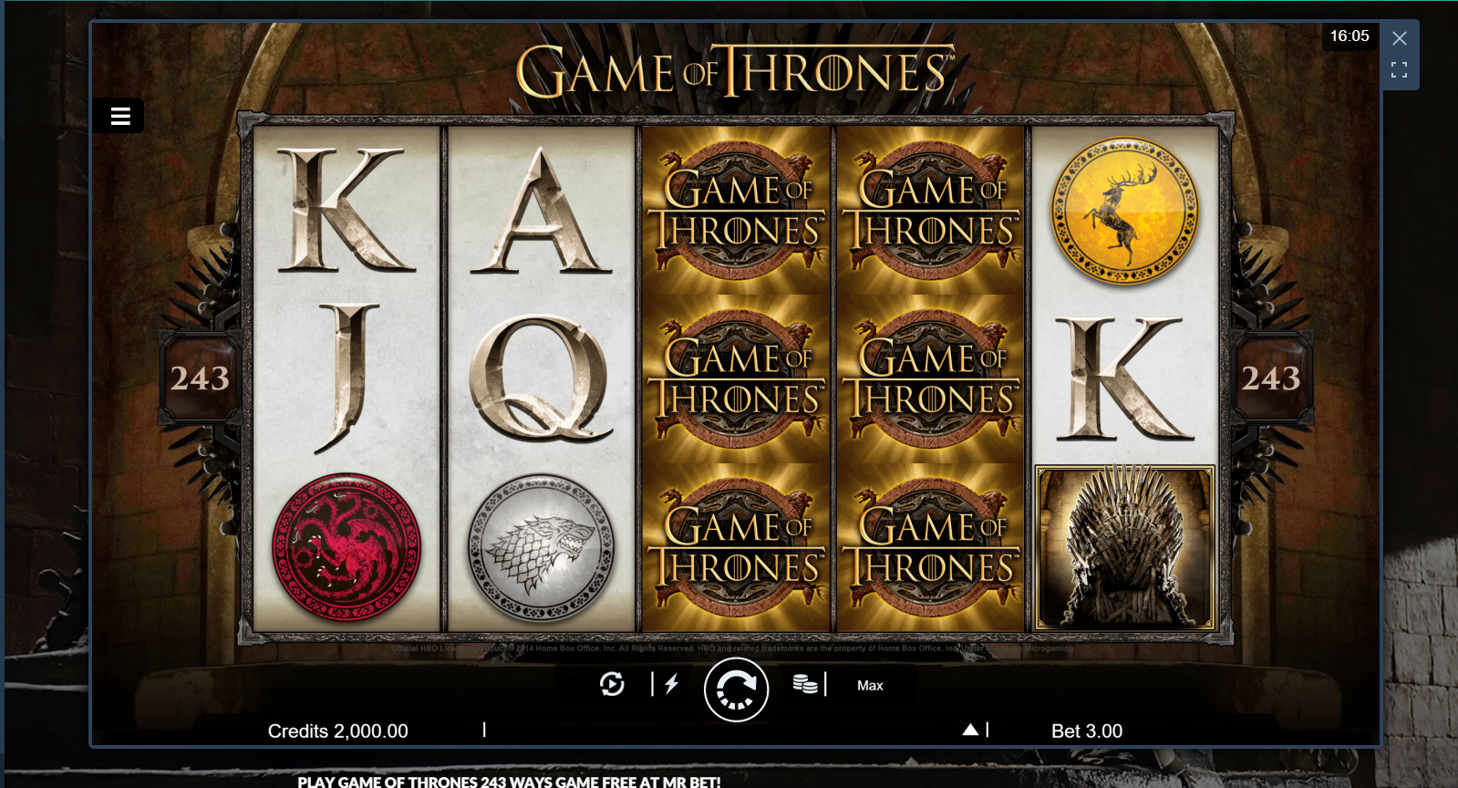 play Game of Thrones Game at Mr.Bet